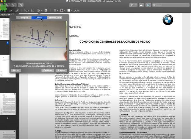 crear la firma de mac con la cámara