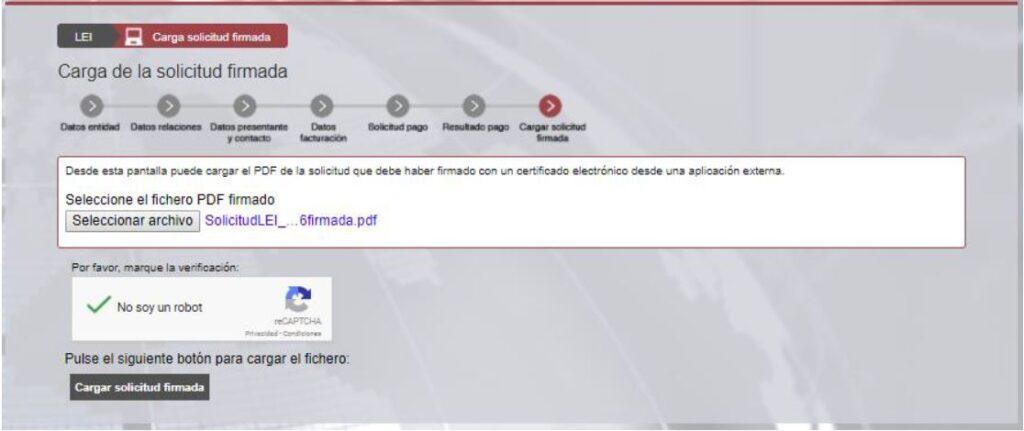 Captura carga solicitud pdf sistema lei