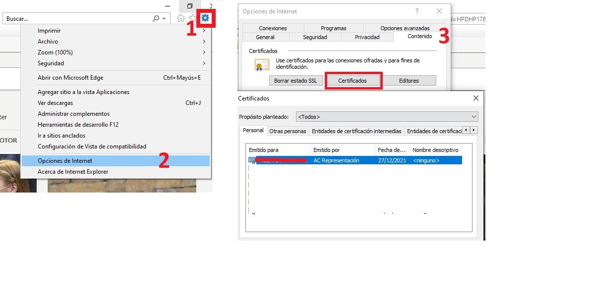 Certificado electrónico en internet explorer