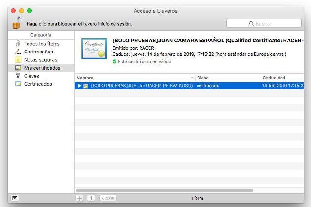 Comprobar instalación certificado digital en MAC