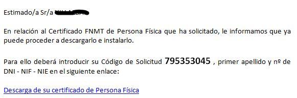 Email descarga certificado persona fisica