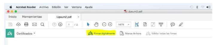 Paso 2 firmar pdf con certificado digital en MAC