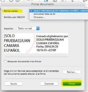 Paso 3 firmar pdf con certificado digital en MAC