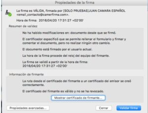 Validar firma pdf en MAC 2