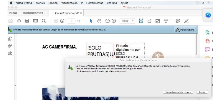 Validar firma pdf en MAC
