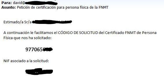 email código de solicitud